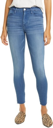 Frame Le High Raw Hem Ankle Skinny Jeans