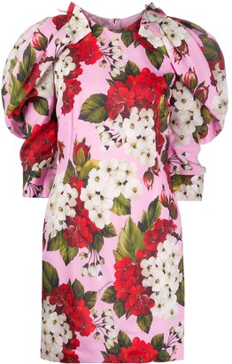 Dolce & Gabbana Rounded Shoulders Floral-Print Dress