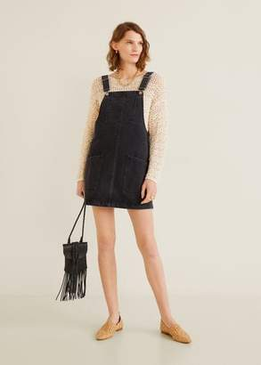 MANGO Pocket denim pinafore dress white - 2 - Women
