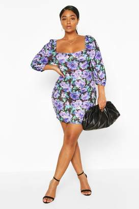 boohoo Plus Floral Puff Sleeve Mini Dress
