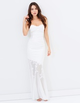Lipsy Embroided Bandeau Mesh Bridal Dress