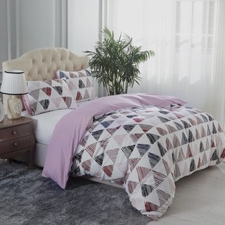Online Soft Beauty Pattern Printed 3 Piece Duvet Cover Set With Zipper Closure & Corner Ties King/Queen
