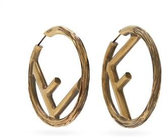 Fendi F-logo Large Hoop Earrings - Gold