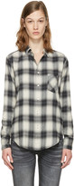 R 13 White Check Slim Boy Shirt