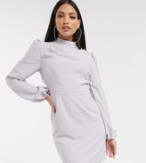 Asos Tall DESIGN Tall high neck mini dress with long sleeves in gray