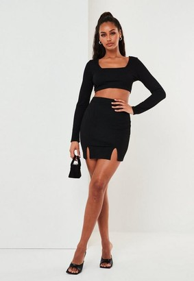 Missguided Crop Top and Mini Skirt Co Ord Set