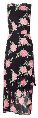 Dorothy Perkins Womens Black Floral Print Hi Lo Maxi Dress, Black