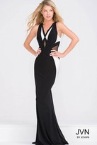 Jovani Sleeveless Fitted Jersey Dress with Sheer Panels JVN41548