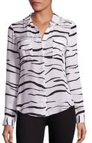 L'Agence Valerie Safari Printed Silk Blouse