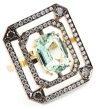 Sylva & Cie Portrait 18K Yellow & White Gold, Emerald & Grey Diamond Ring