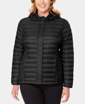 32 Degrees Plus Size Hooded Packable Down Puffer Coat, Created for Macy's