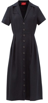 Art School Nurse Cuban-collar Linen Midi Dress - Navy