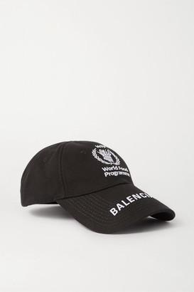 Balenciaga World Food Program Embroidered Cotton-twill Baseball Cap - Black