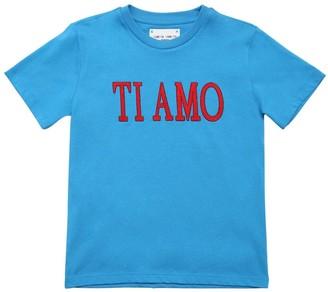 Alberta Ferretti Ti Amo Embroidered Cotton Jersey T-shirt