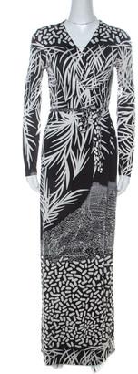 Diane von Furstenberg Black & White Printed Silk Jersey Georgina Wrap Dress S