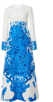Valentino Grace-Print Wool-Silk Maxi Dress