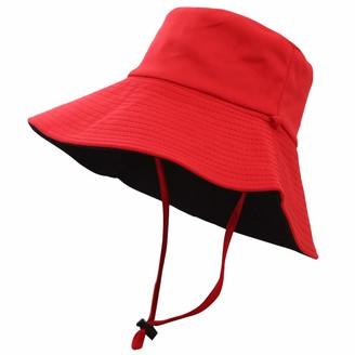 Umeepar Womens Packable Reversible Sun Hat Summer Beach Hat Wide Brim Bucket Hat (Red/Black)