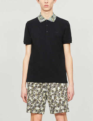 Fendi Branded-collar slim-fit cotton-pique polo shirt