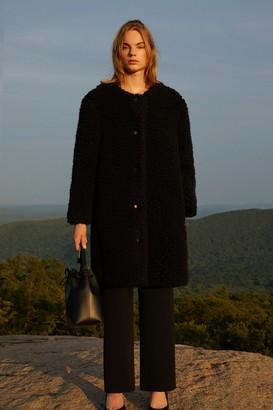 Mansur Gavriel Furry Cashmere Long Collarless Coat - Black