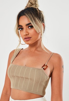 Missguided Petite Sand Co Ord Ribbed One Shouder Crop Top