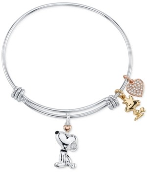 Peanuts Unwritten Snoopy & Woodstock Bangle Bracelet in Tri-Tone Stainless Steel with Silver Plated Charms