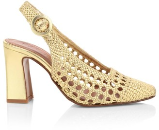 Souliers Martinez Zahara Woven Metallic Leather Slingback Pumps