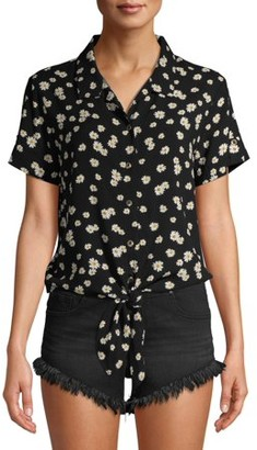 No Boundaries Juniors' Printed Tab Sleeve Button Down Tie Front Top