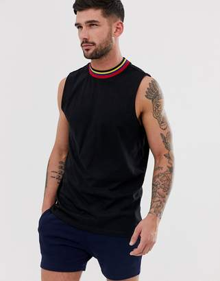 Asos Design DESIGN organic relaxed sleeveless t-shirt with dropped armhole with contrast tipping in black
