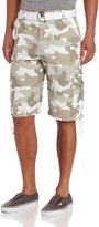 Southpole Men's Belted Rip Stop Camo Cargo Short With Washing And 13.5 Inch Length