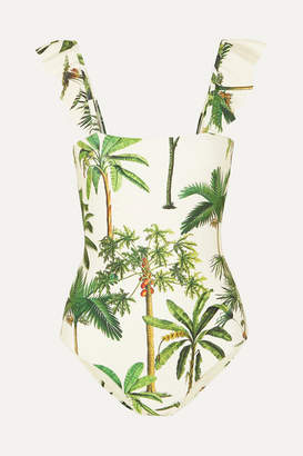 Agua Bendita Agua by Nativa Ruffled Printed Swimsuit - Green