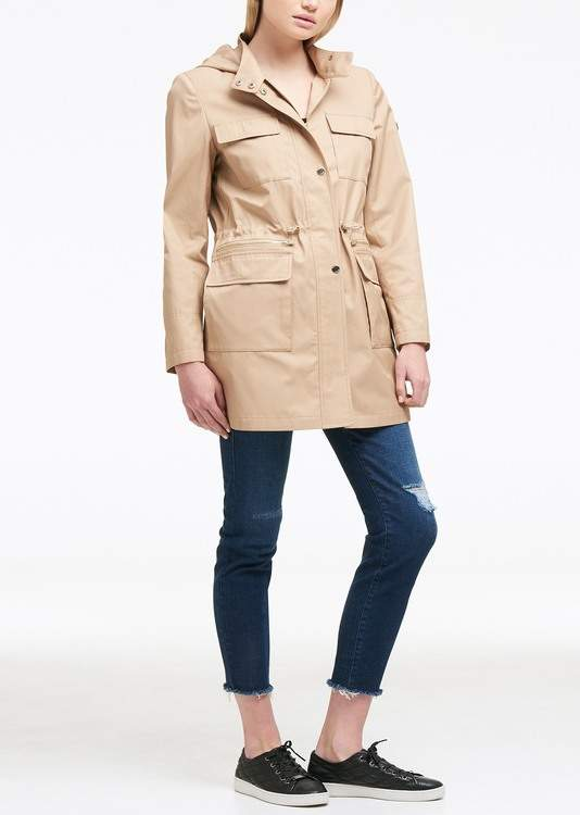 DKNY Solid Hooded Zip Front Anorak Jacket