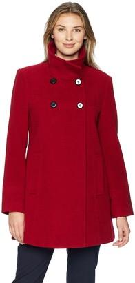 Larry Levine Women's Double Breasted Plush Wool Coat