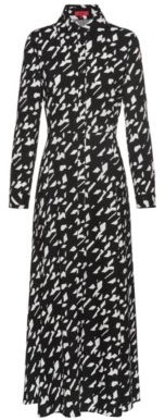 Maxi shirt dress in a star-houndstooth print
