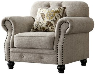 Acanva Chesterfield Chenille Armchair Charlton Home Upholstery Color: Almond