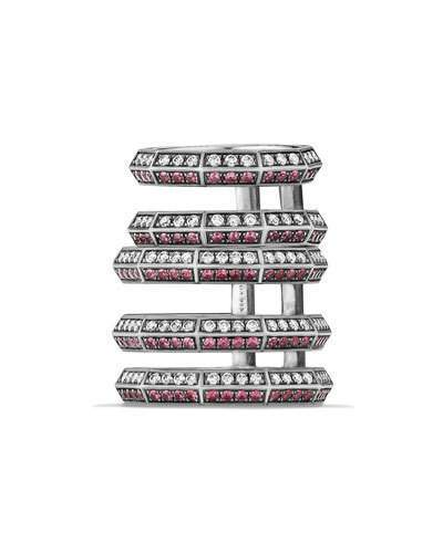 David Yurman Stax Cage Ring with Rubies & Diamonds in Sterling Silver