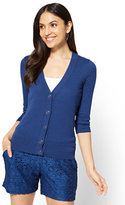 New York & Co. 7th Avenue - V-Neck Chelsea Cardigan - Novelty Button