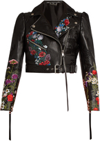 Alexander McQueen Floral-motif cropped leather jacket