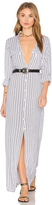 Indah Rokaway Printed Button Up Maxi Dress