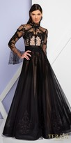 Terani Couture High Neck Bell Sleeve Lace Evening Gown