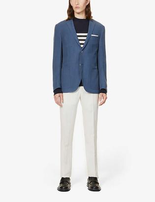 Corneliani Single-breasted linen and silk-blend blazer