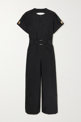 3.1 Phillip Lim - Belted Cutout Cotton-blend Poplin Jumpsuit - Black