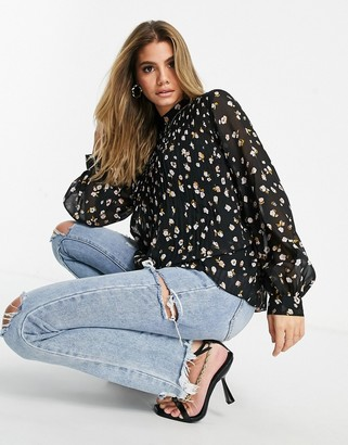 ASOS DESIGN long sleeve pleated trapeze top in floral print
