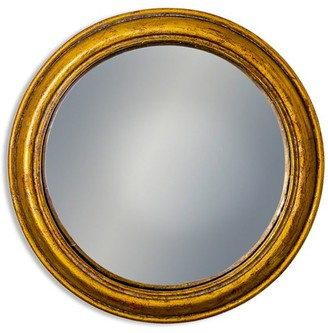 Rhubarb Home - Antiqued Gold Rounded Framed Large Convex Mirror - glass | gold - Gold/Gold