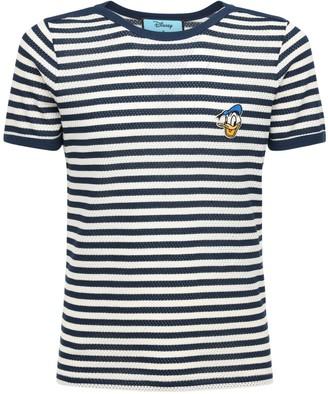 Gucci Donald Duck Patch Striped Cotton T-Shirt