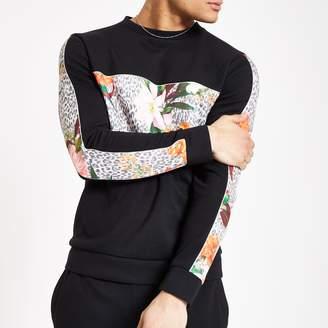 River Island Mens Black leopard floral slim fit sweatshirt