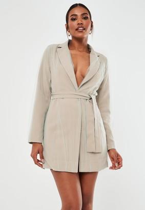 Missguided Stone Organza Overlay Blazer Dress