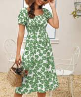 Suvimuga Women's Casual Dresses Deep - Deep Green Floral Smocked-Top Convertible Off-Shoulder Dress - Women