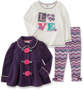 Kids Headquarters 3-Pc. Rose Jacket, T-Shirt & Leggings Set, Baby Girls (0-24 months)
