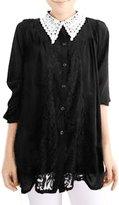 Allegra K Women Semi Sheer Chiffon Lace Loose Tunic Shirt Blouse XS
