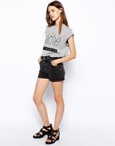 Asos High Waist Denim Mom Shorts in Charcoal - Ash black